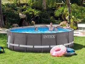 Intex Ultra Frame zwembad met pomp en accessoires 427 x 107 cm rond