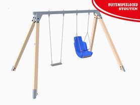 Schommel met 1 rubber schommelzitje en 1 minder valide schommelstoel - Openbaar gebruik